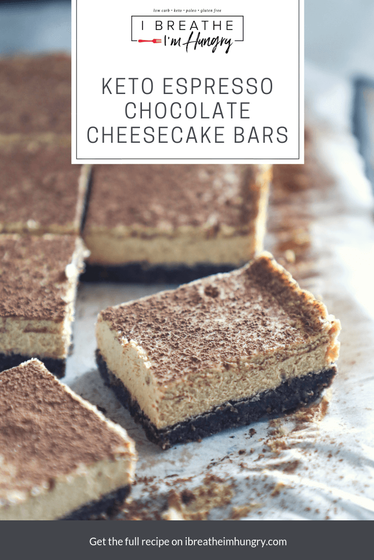 These keto espresso chocolate cheesecake bars are delicious & easy to make in your blender! Low carb, gluten free, grain free, Atkins friendly.
