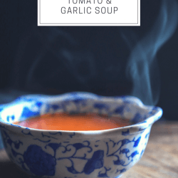 keto roasted tomato & garlic soup with text overlay