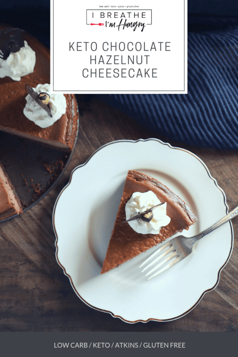 keto chocolate hazelnut cheesecake with text overlay