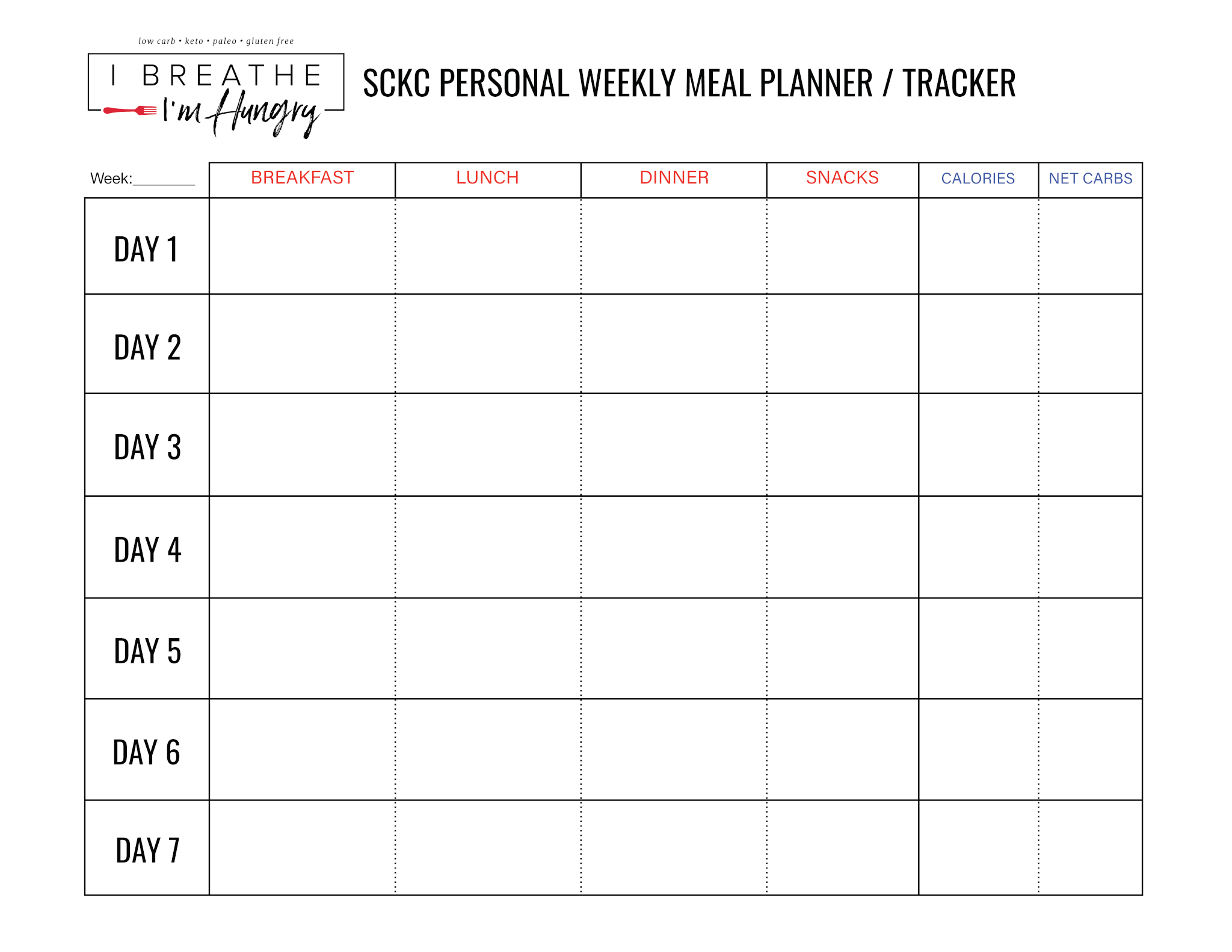 IBIH Squeaky Clean Keto Challenge Meal Planner
