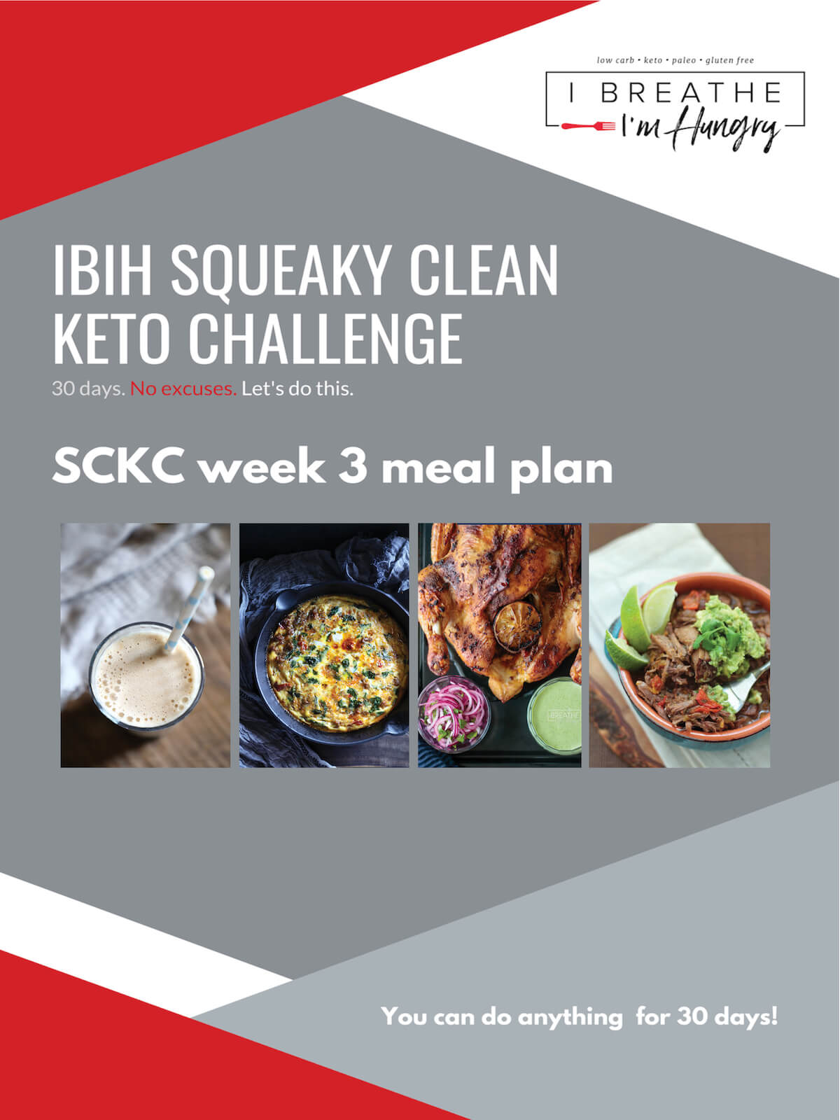 This Week 3 Squeaky Clean Keto Meal Plan is a customizable keto menu plan for the third week of the IBIH Squeaky Clean Keto Challenge (SCKC) – a 30 day clean eating keto diet plan designed to achieve better health and faster weight loss!  This dairy free menu plan also works for Keto Whole 30!