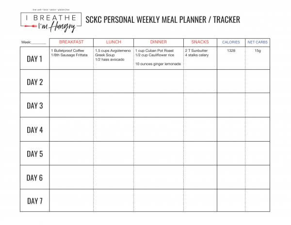 SCKC weekly meal planner sample week 3