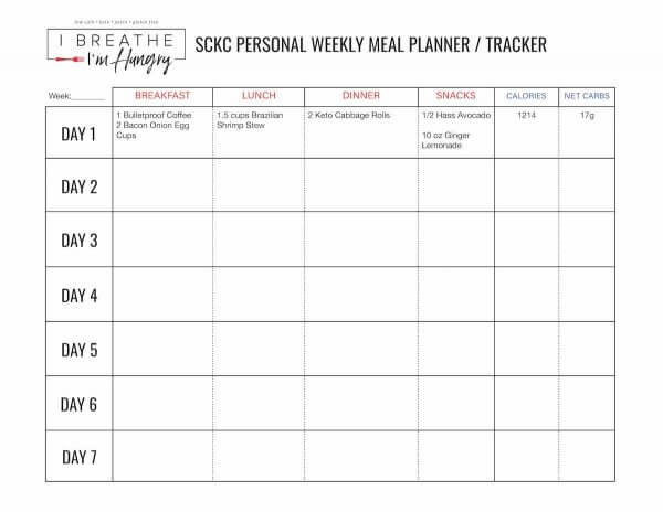 Week 4 Squeaky Clean Keto Challenge Sample Menu