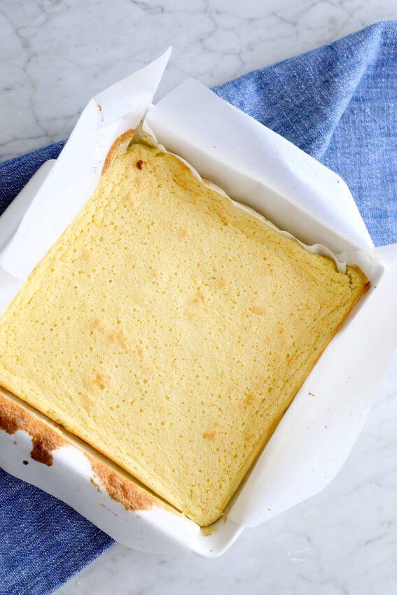 Keto Lemon Magic Custard Cake in the pan