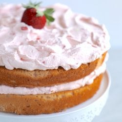 A 2 layer keto strawberry cake