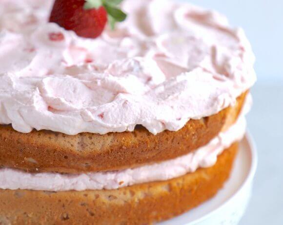 A 2 layer keto strawberry cake