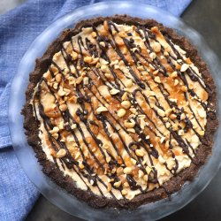 Keto Peanut Butter & Chocolate Pie in a glass pie plate top view