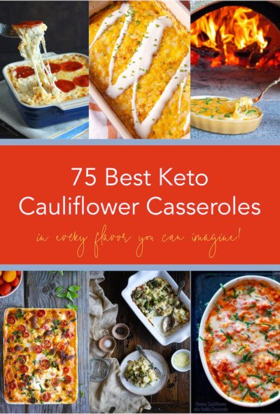 A collection of the 75 Best Keto Cauliflower Casseroles with 6 photos and text overlay