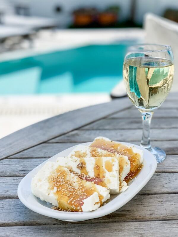 IBIH Vacation Travel Guide to Santorini - Feta with honey and sesame by the pool