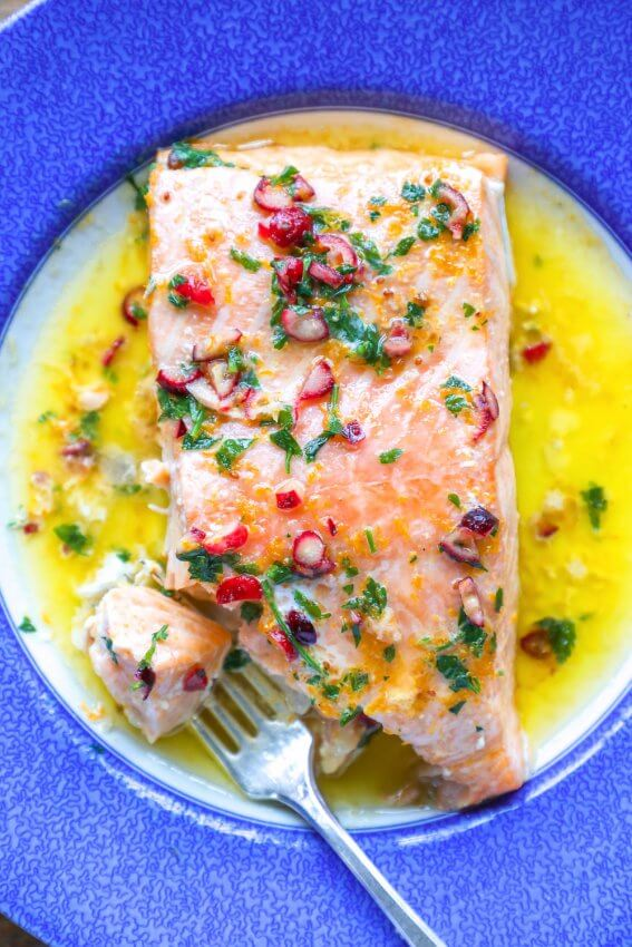 Keto Salmon with Cranberry Orange Butter