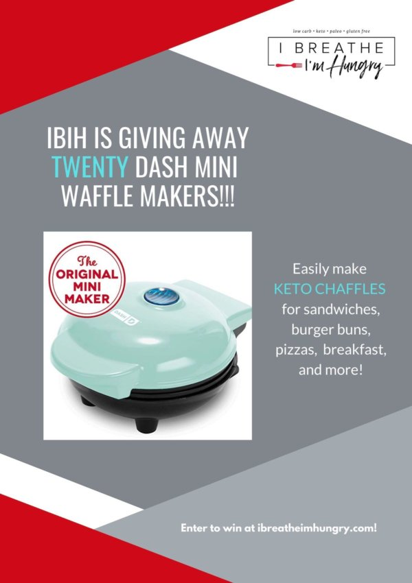 Giveaway poster for 20 Dash Mini Waffle Makers by I Breathe I'm Hungry