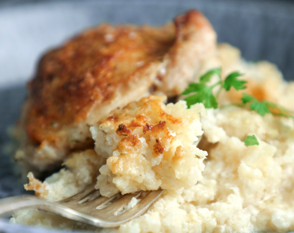 Close up of keto cheesy ranch cauliflower rice
