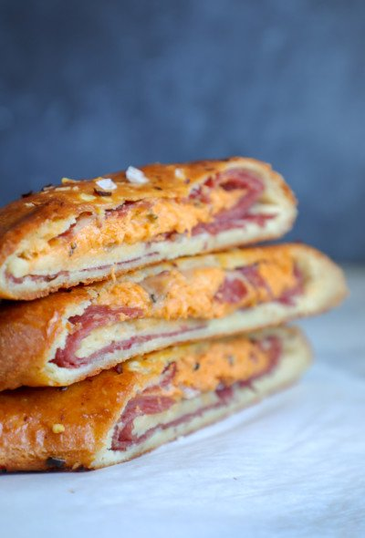 Keto Stromboli pieces stacked on top of each other