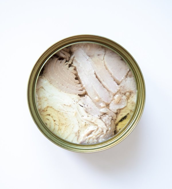 open can of tuna fish on a white background for Keto Pantry guide