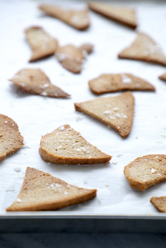 Thin crackers made from slices of easy Keto Bread