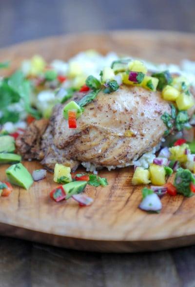 Keto Jerk Chicken Sheet Pan Meal on a wooden plate