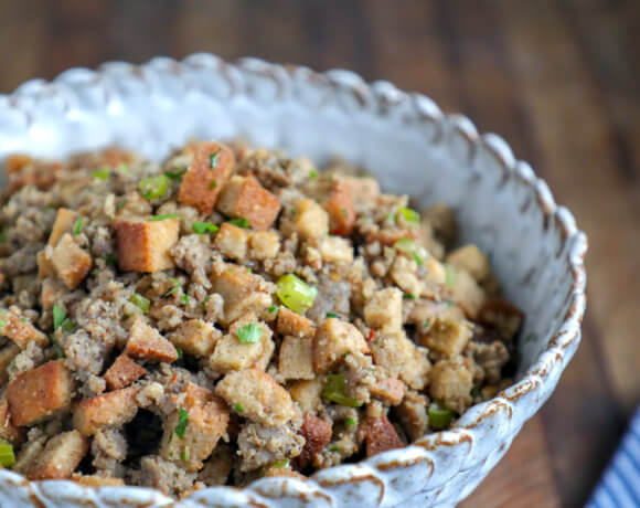 Keto HOP Stuffing in a scalloped pottery bowl