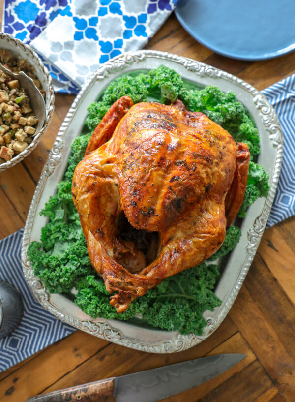 Easy Keto Roasted Turkey on a silver platter