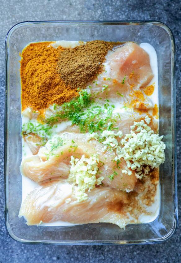 Keto Chicken Satay Sheet Pan Dinner in the marinade