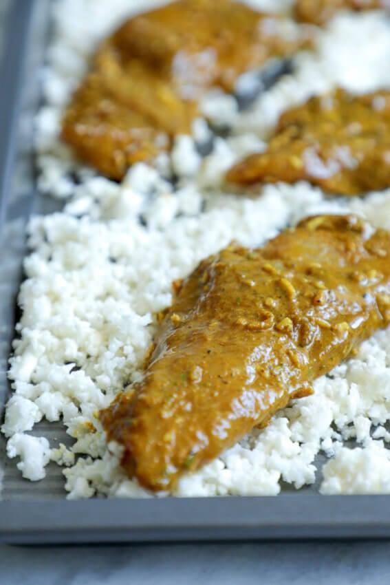 Low Carb Chicken Satay Sheet Pan Meal before baking