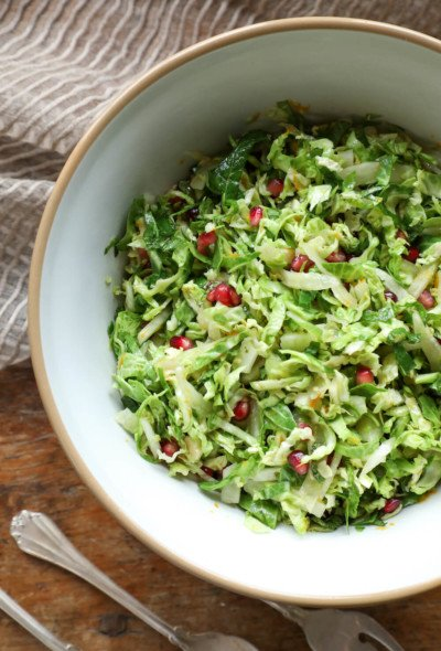 Keto Brussels Sprouts Slaw in a vintage pottery bowl