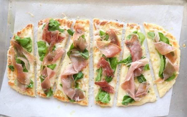 Easy Keto Flatbread cut into rectangles