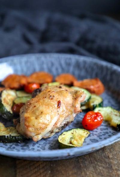 Keto Chicken & Chorizo Sheet Pan Dinner on a blue enamelware plate