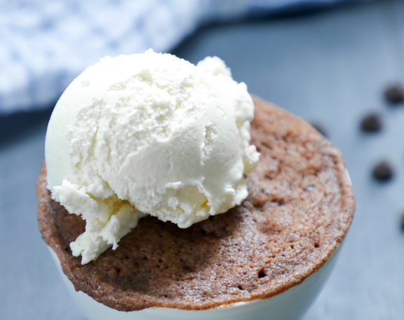 Keto Chocolate Mug Cake with a scoop of vanilla ice cream