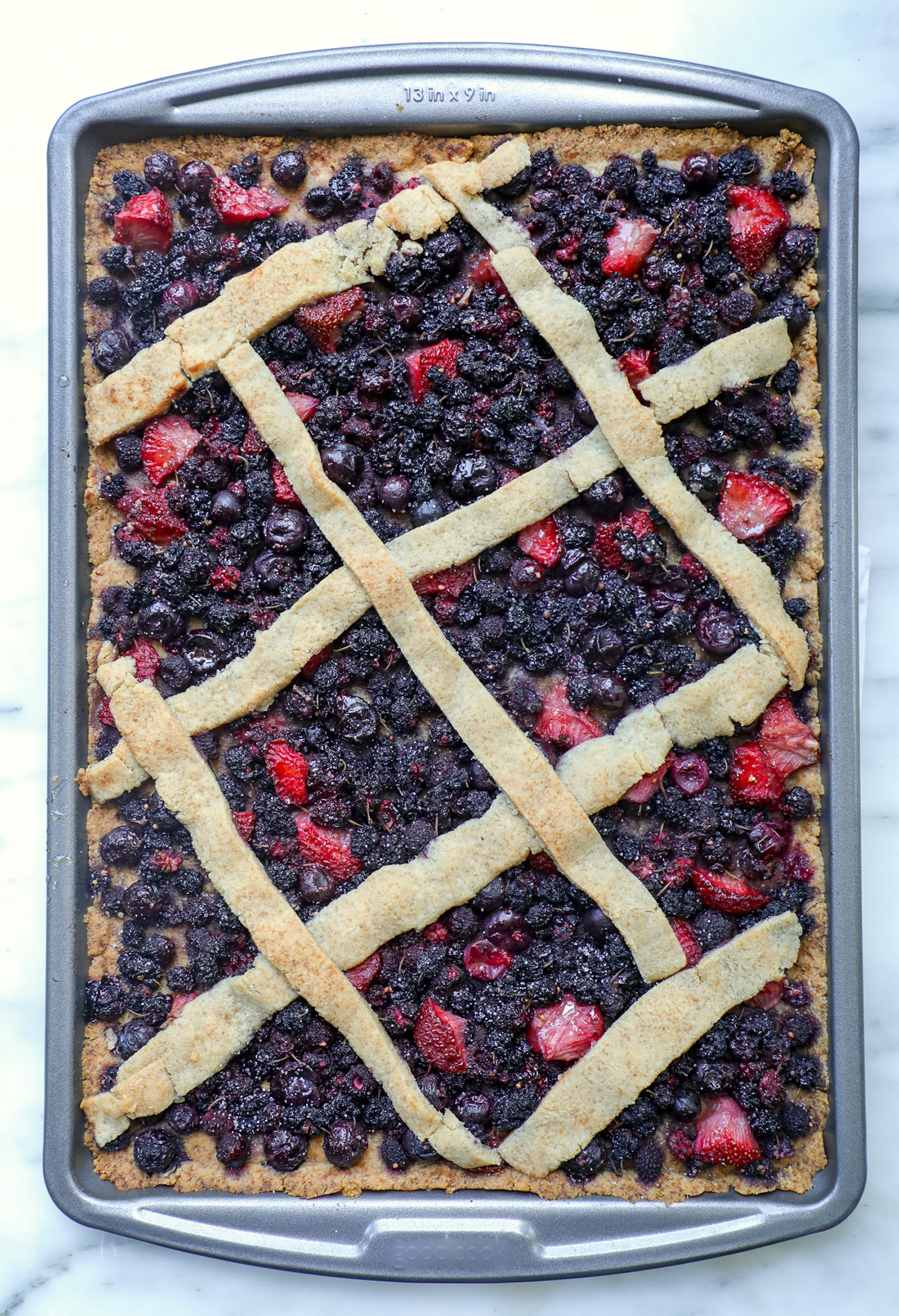 Keto Mixed Berry Slab Pie fully baked and ready to serve