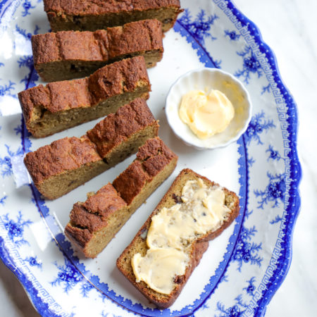 Easy Keto Zucchini Bread sliced and served with softened butter
